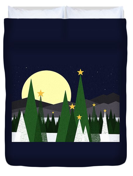 Long Night Moon Duvet Cover by Val Arie