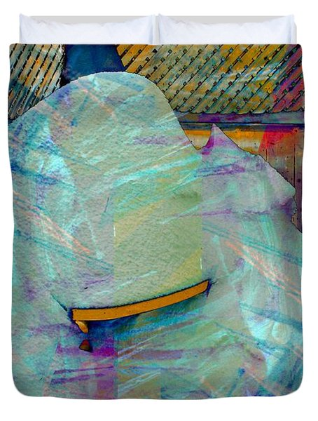 Long Time to Summer - Snow Storm - Blizzard Abstract Duvet Cover by Barbara Griffin