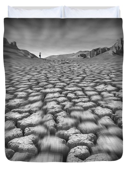 Long Walk On A Hot Day Duvet Cover by Mike McGlothlen