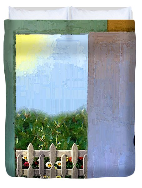 Looking Out My Back Door Duvet Cover by RC DeWinter