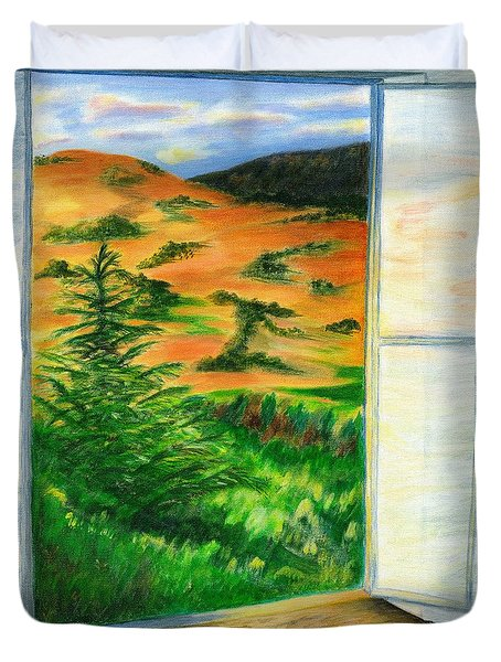 Looking Out The Window Duvet Cover by Colleen Ward