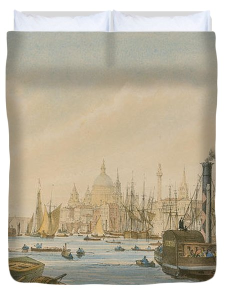 Looking Towards London Bridge Duvet Cover by William Parrot