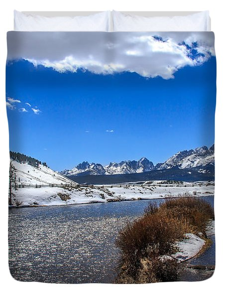 Looking Up The Salmon River Duvet Cover by Robert Bales