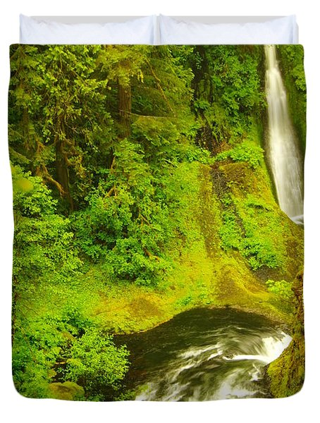 Loowit Falls Duvet Cover by Jeff Swan
