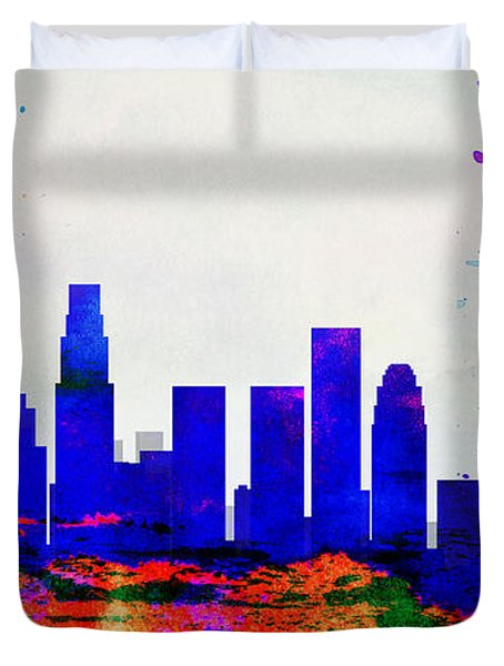 Los Angeles City Skyline Duvet Cover by Naxart Studio