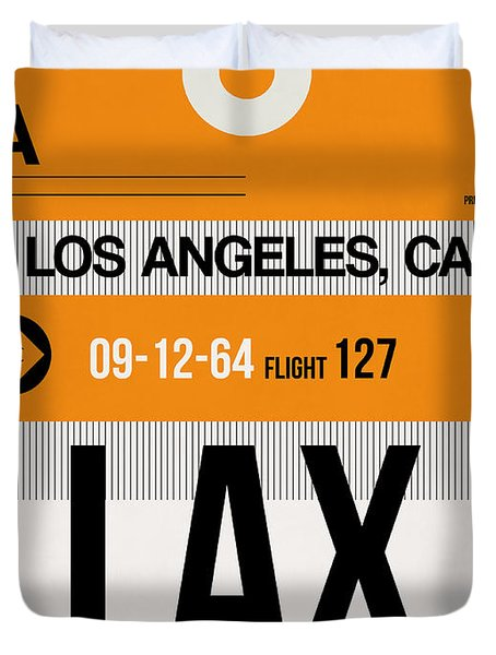 Los Angeles Luggage Poster 2 Duvet Cover by Naxart Studio