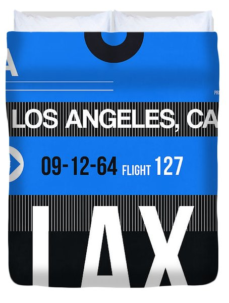 Los Angeles Luggage Poster 3 Duvet Cover by Naxart Studio