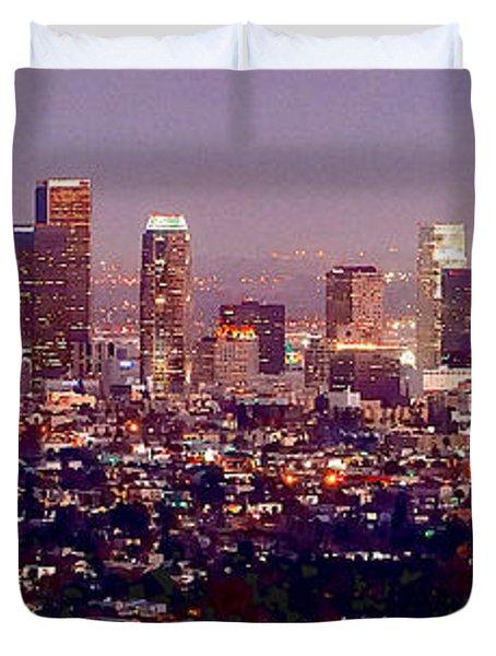 Los Angeles Skyline at Dusk Duvet Cover by Jon Holiday