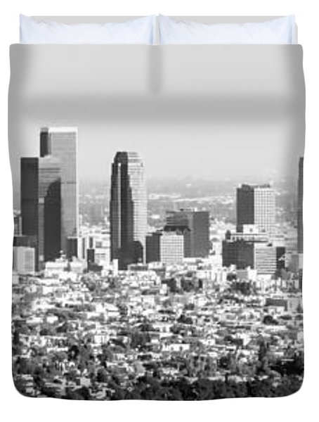 Los Angeles Skyline Panorama Photo Duvet Cover by Paul Velgos