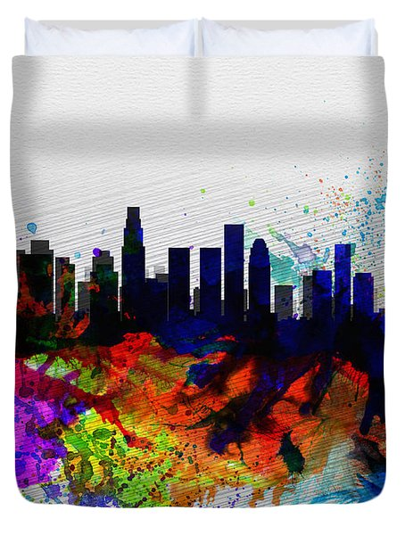 Los Angeles  Watercolor Skyline 2 Duvet Cover by Naxart Studio