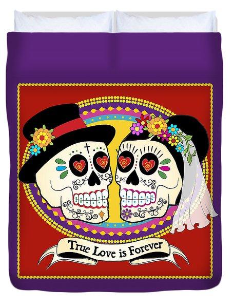 Los Novios Sugar Skulls Duvet Cover by Tammy Wetzel