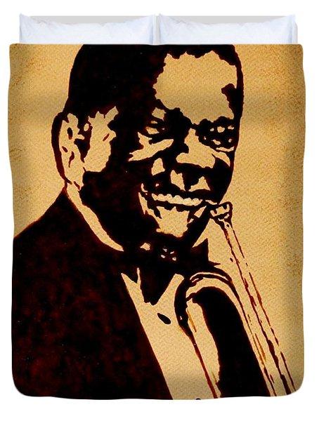 Louis Armstrong Original Coffee Painting Art Duvet Cover by Georgeta  Blanaru