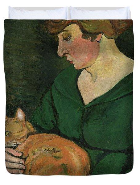 Louison E Raminou Duvet Cover by Marie Clementine Valadon