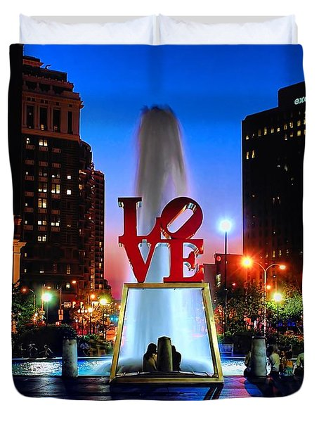 Love At Night Duvet Cover by Nick Zelinsky