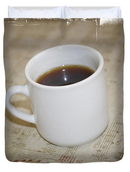Love Coffee and Music Duvet Cover by Nina Prommer