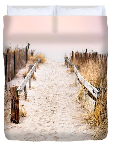 Love Is Everything - Footprints In The Sand Duvet Cover by Gary Heller