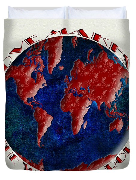 Love Makes The World Go Round 1 Duvet Cover by Andee Design