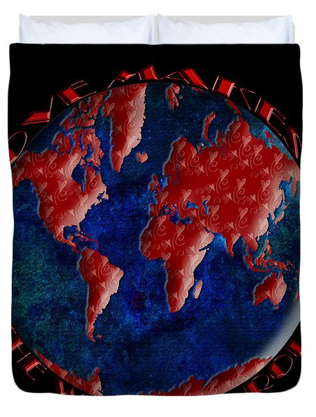 Love Makes The World Go Round 2 Duvet Cover by Andee Design