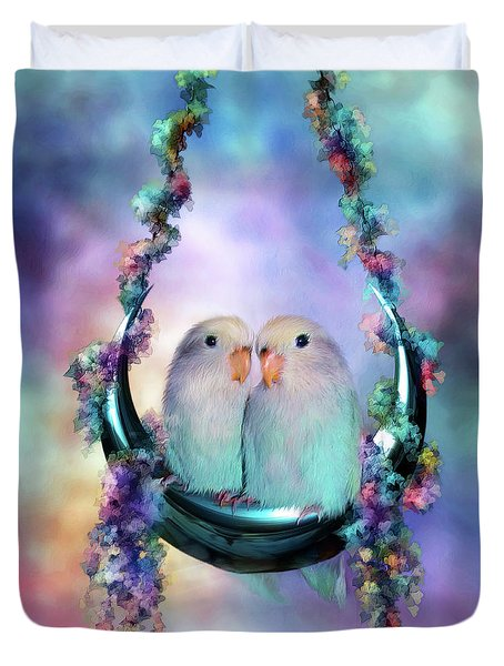 Love On A Moon Swing Duvet Cover by Carol Cavalaris