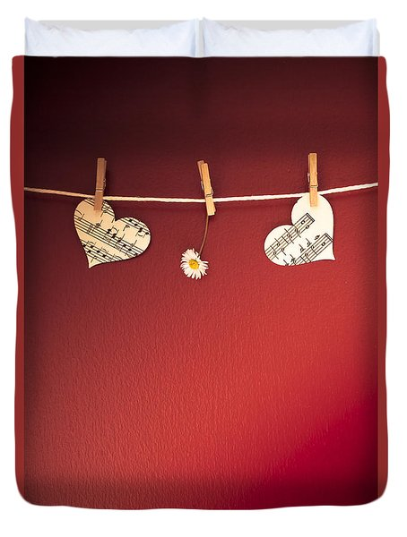 Love On The Line Duvet Cover by Jan Bickerton