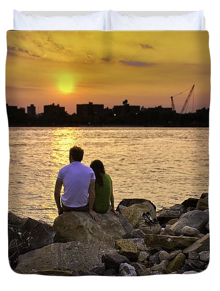 Love On The Rocks In Brooklyn Duvet Cover by Madeline Ellis