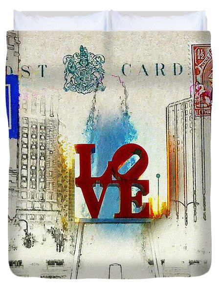 Love Park Post Card Duvet Cover by Bill Cannon