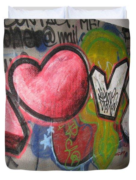 Love. Street Graffiti Duvet Cover by Ausra Huntington nee Paulauskaite