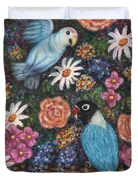 Lovebirds Two Duvet Cover by Linda Mears