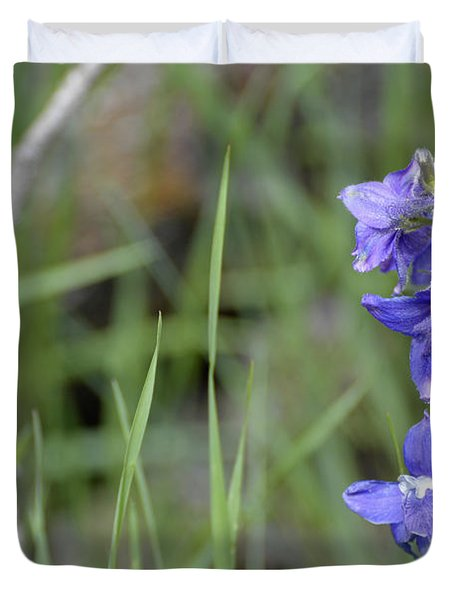 Low Larkspur In Yellowstone National Park Duvet Cover by Bruce Gourley
