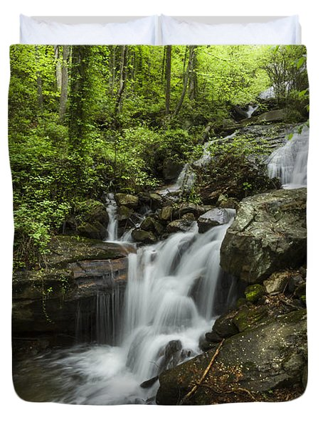 Lower Amicalola Falls Duvet Cover by Debra and Dave Vanderlaan