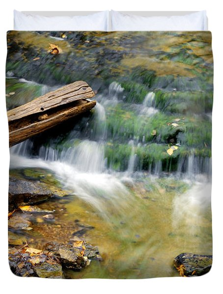 Lower Part Of Au Train Falls Duvet Cover by Optical Playground By MP Ray