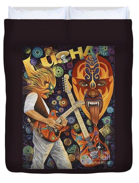 Lucha Rock Duvet Cover by Ricardo Chavez-Mendez