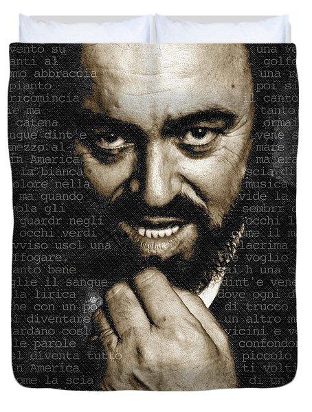Luciano Pavarotti Duvet Cover by Tony Rubino