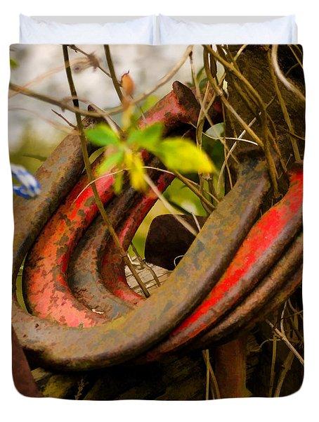 Lucky Horseshoes Duvet Cover by Jordan Blackstone