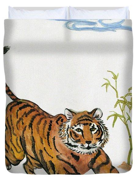 Lucky Tiger Duvet Cover by Carol Oufnac Mahan