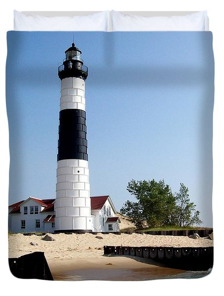 Ludington Michigan's Big Sable Lighthouse Duvet Cover by Michelle Calkins