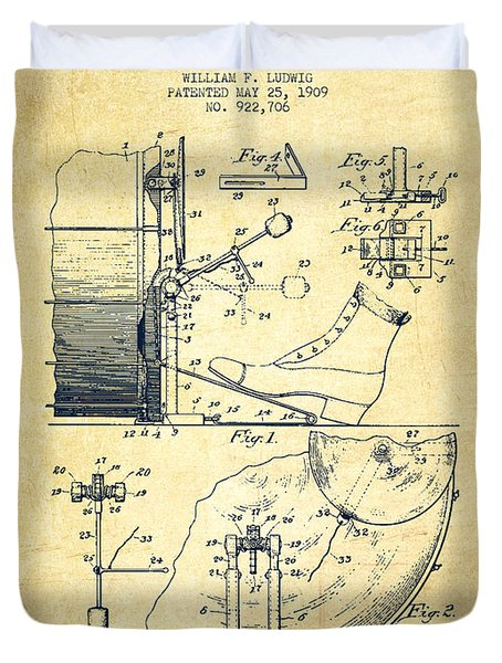Ludwig Foot Pedal Patent Drawing From 1909 - Vintage Duvet Cover by Aged Pixel