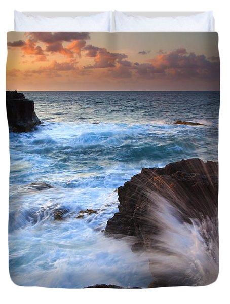 Lumahai Sea Explosion Duvet Cover by Mike  Dawson