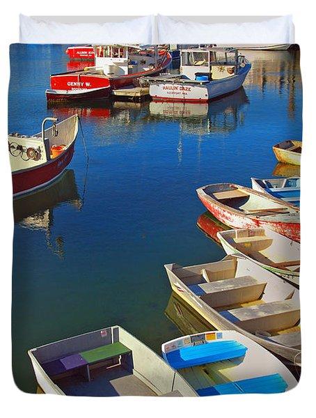 Lunch At The Harbor Duvet Cover by Joann Vitali