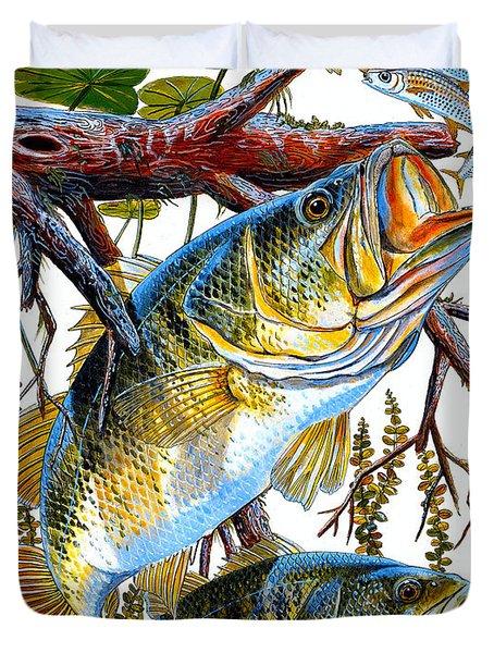 Lurking Bass Duvet Cover by Carey Chen