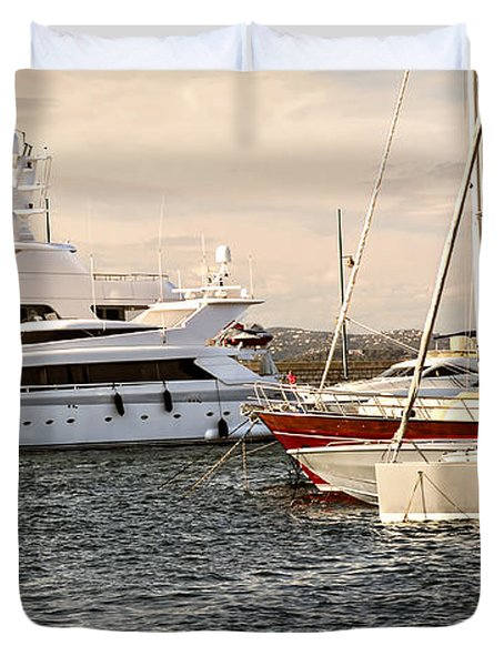 Luxury boats at St.Tropez Duvet Cover by Elena Elisseeva