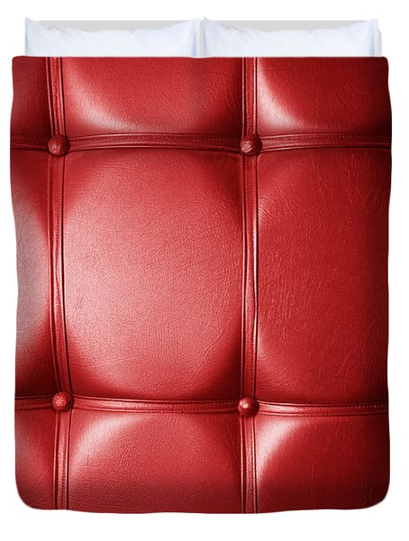 Luxury Genuine Leather. Red Color Duvet Cover by Michal Bednarek