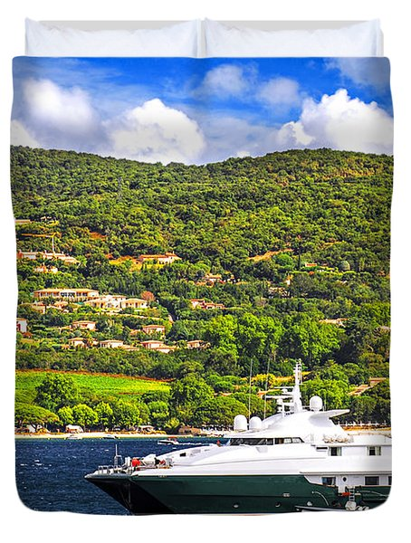 Luxury yacht at the coast of French Riviera Duvet Cover by Elena Elisseeva