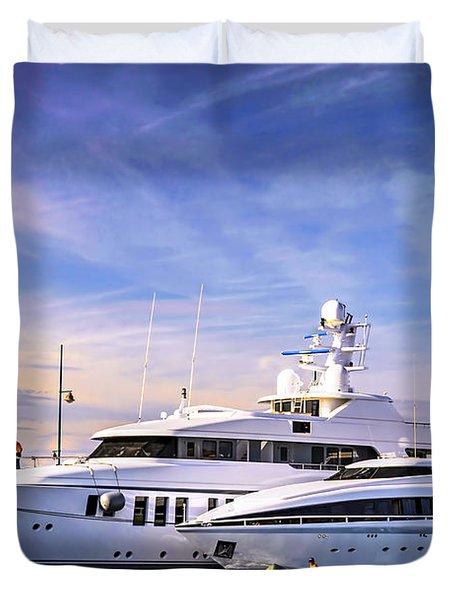 Luxury yachts Duvet Cover by Elena Elisseeva
