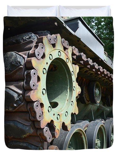 M60 Patton Artillery Tank Tread Duvet Cover by Luther   Fine Art