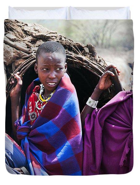 Maasai Children Portrait In Tanzania Duvet Cover by Michal Bednarek