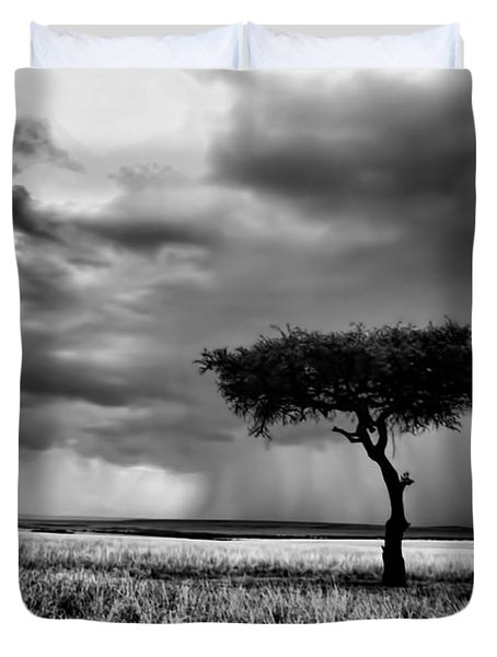 Maasai Mara In Black And White Duvet Cover by Amanda Stadther