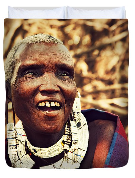 Maasai Old Woman Portrait In Tanzania Duvet Cover by Michal Bednarek
