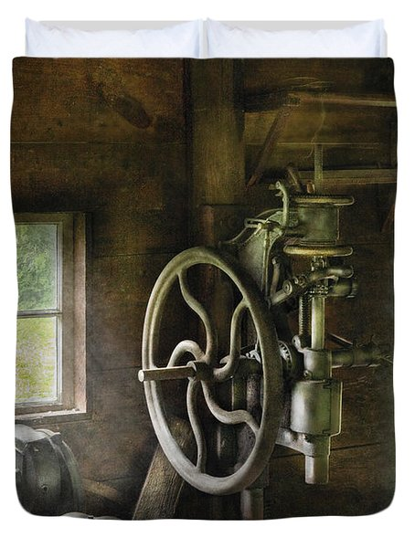 Machine Shop - An Old Drill Press Duvet Cover by Mike Savad