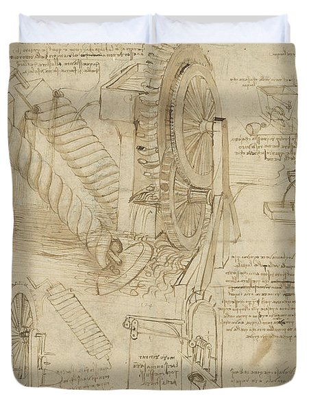 Machines To Lift Water Draw Water From Well And Bring It Into Houses From Atlantic Codex  Duvet Cover by Leonardo Da Vinci